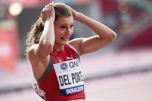 """« Aucune frustration; j'ai couru le meilleur temps de cette deuxième partie de saison; je suis très heureuse de l'avoir fait à Doha, aux championnats du monde. Je peux m'affirmer de nouveau en forme après cette course. Il y a eu de la pression dans ces Mondiaux, même si je n'ai été invitée qu'au dernier moment. Mais la pression reste un facteur positif, il en faut toujours un peu dans les grands rendez-vous », a assuré Ajla Del Ponte (23 ans) au Qatar, manquant la qualification pour les demi-finales du 100 mètres pour cinq """"petits"""" centièmes. Doha constituait ses premiers Mondiaux élites. © leMultimedia.info / Oreste Di Cristino [Doha]"""