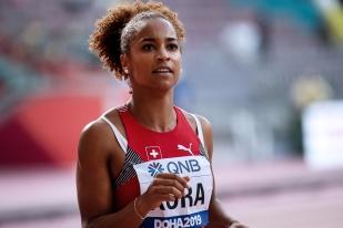 « L'attitude de Mujinga, plus que de par ses évidentes performances de relief, est révélatrice et source de grande inspiration pour nous toutes », assurait Salomé Kora, éliminée en séries du 100m à Doha. © leMultimedia.info / Oreste Di Cristino [Doha]